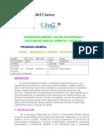 Programa Del Curso Desarrollo Humano y Etica Profesinal