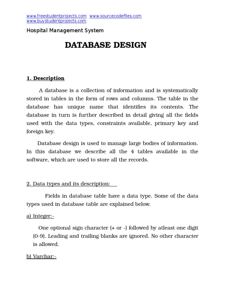 Hospital Management System Database Design Docx Patient Data Management