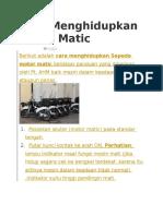 Cara Menghidupkan Motor Matic