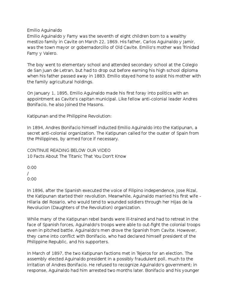 Emilio Aguinaldo   Philippines   Unrest
