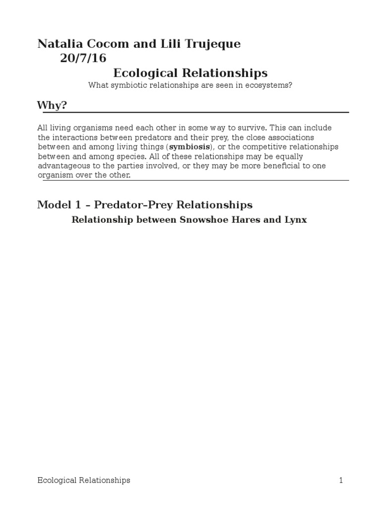 Workbooks predator and prey worksheets : 17 ecological relationships-s-pogil-23natalia | Predation | Symbiosis