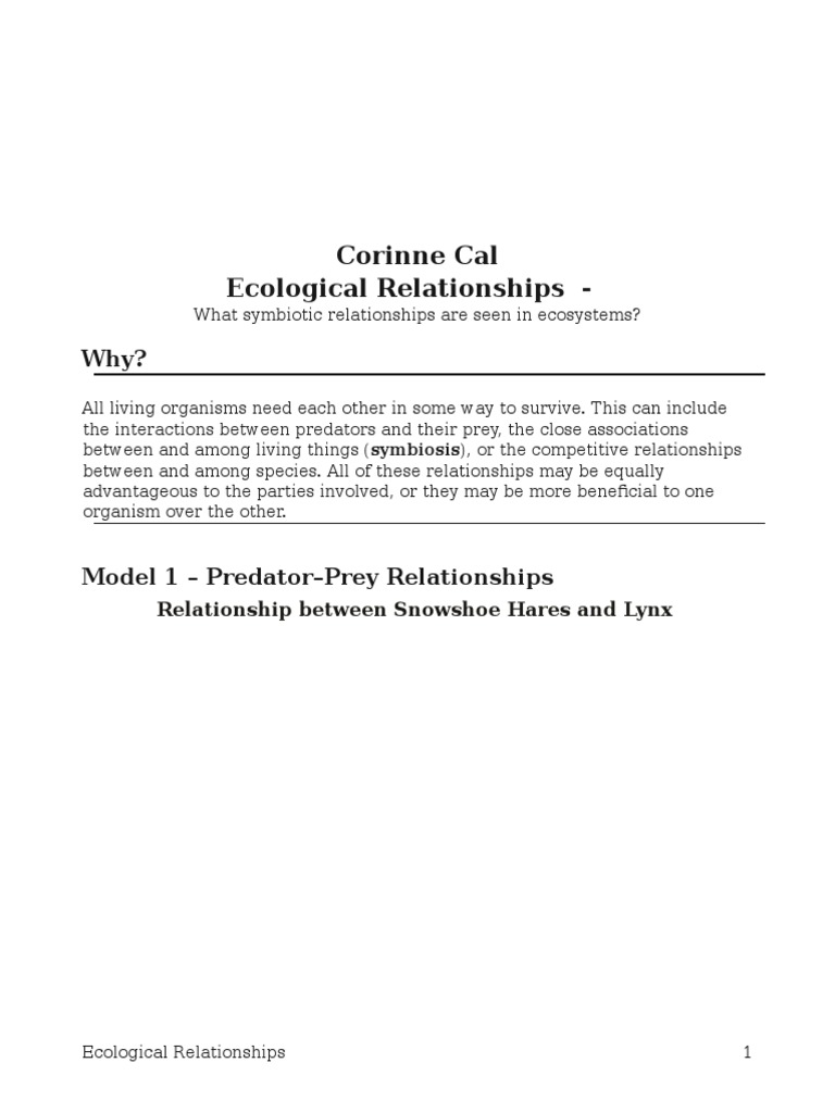 17 ecological relationships s pogil 23 symbiosis predation fandeluxe Gallery