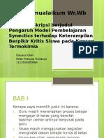 Presentasi pengaruh model synectic pada termokimia