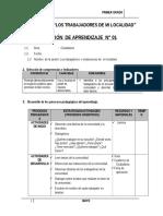 SESIÓN DE APRENDIZAJE DE LA UNIDAD 1° MAYO - 2015