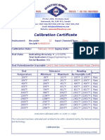 Calibration Certificate Sample