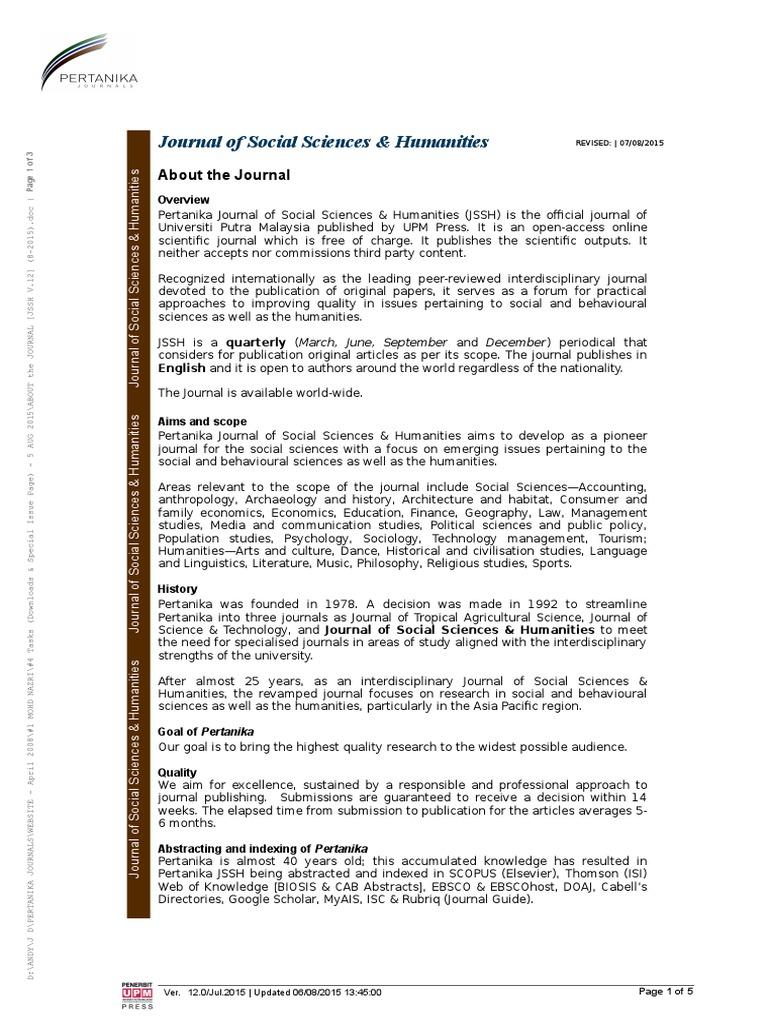 About the Journal [Jssh v 12] (8-2015) | Social Sciences