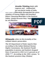 Aronite thinking- Ethnic Cleansing of Kashmiri Pandits