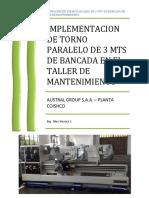 Implementacion de Torno Paralelo de 3 Mts de Banaca en El Taller de Mant...