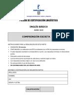 Inglés A2 Comprensión Escrita Prueba
