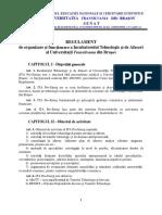Regulament de Organizare Si Functionare a Incubatorului Tehnologic Si de Afaceri Al UTBv