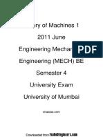 Theory of Machines 1 - 2011 June - Engineering Mechanical Engineering (MECH) BE - Semester 4 -