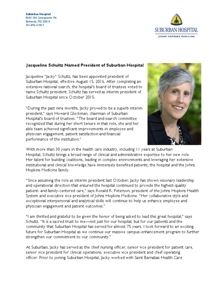 PressRelease Schultz SHPresident | Hospital | Nursing