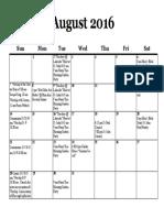 Calendar, August 2016