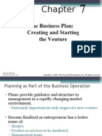 ENT7-The Business Plan - Creating and Starting the Venture