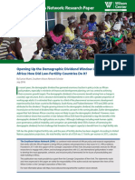 Opening Up the Demographic Dividend Window in Sub-Saharan Africa