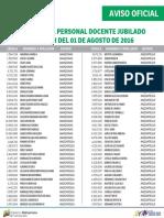 Listado de Docente Jubilado - Agosto 2016 - Notilogía