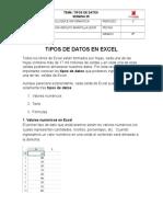 TIPOS DE DATOS EN EXCEL 8°