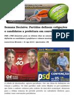 Semana Decisiva Partidos Definem Coligações e Candidatos a Prefeitura Em Convenções