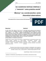Algunas Cuestiones Teóricas Relativas a La Memoria Como Práctica Social