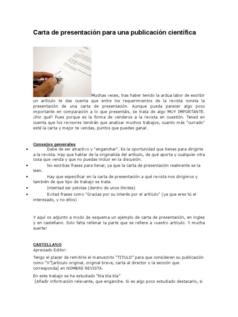 Carta de Presentación Para Una Publicación Científica