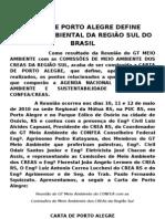 CARTA DE PORTO ALEGRE DEFINE AGENDA AMBIENTAL DA REGIÃO SUL DO BRASIL