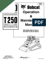 BOBCAT T 250 Operation and Maintenance Manual ENGLESKI