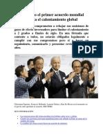 1. Aprobado El Primer Acuerdo Mundial Contra El Calentamiento Global