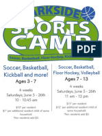 Park Side Sports Camp Flier