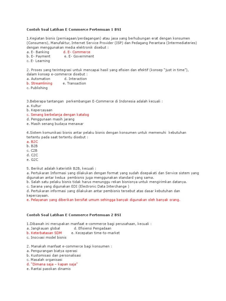 Contoh Soal Latihan E Commerce Pertemuan 1 Bsi