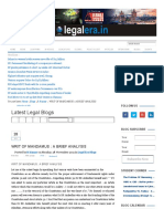 WRIT of MANDAMUS _ a BRIEF ANALYSIS - Latest Legal News and Legal Blog in India by LegalEra