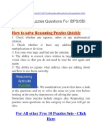 Reasoning Puzzles Questions for IBPS