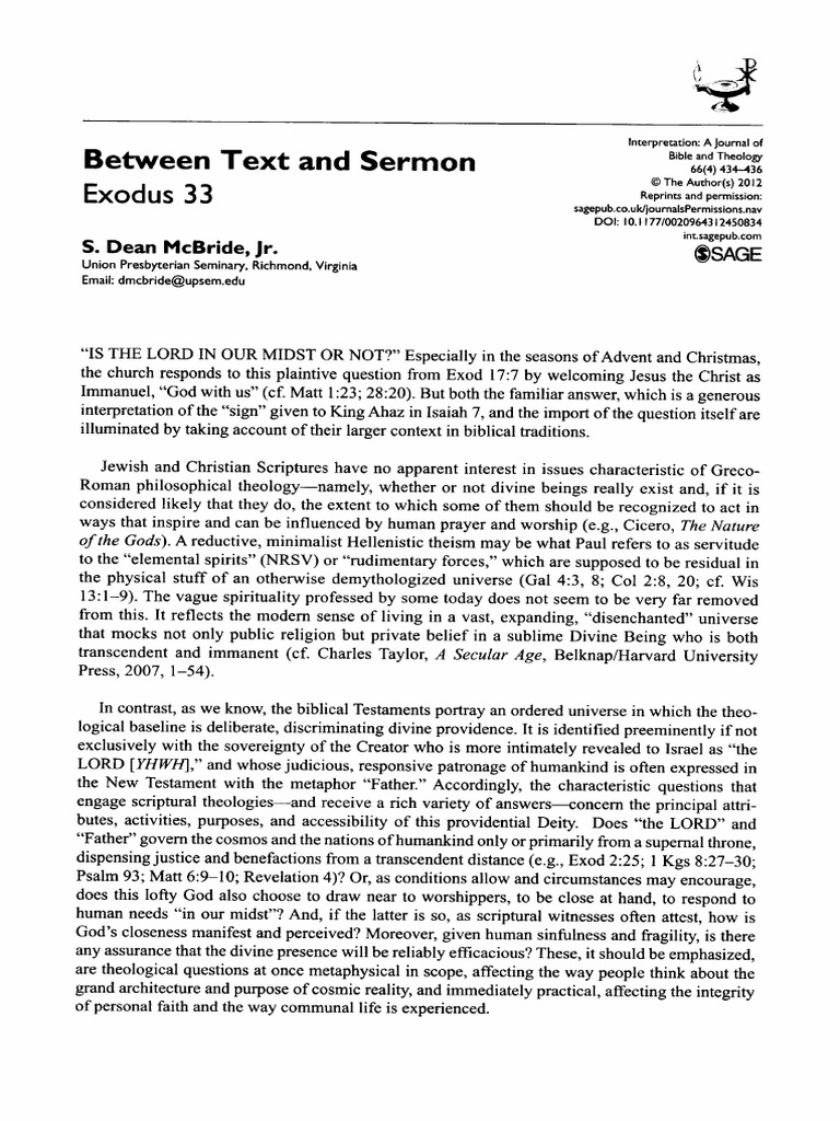 Between Text And Sermon