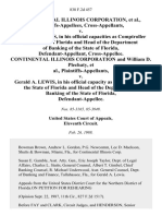 Continental Illinois Corporation, Cross-Appellants v. Gerald A. Lewis, in His Official Capacities as Comptroller of the State of Florida and Head of the Department of Banking of the State of Florida, Cross-Appellee. Continental Illinois Corporation and William D. Plechaty v. Gerald A. Lewis, in His Official Capacity as Comptroller of the State of Florida and Head of the Department of Banking of the State of Florida, 838 F.2d 457, 11th Cir. (1988)