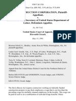 Miree Construction Corporation v. Elizabeth Dole, Secretary of United States Department of Labor, 930 F.2d 1536, 11th Cir. (1991)