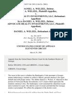 In Re Daniel A. Welzel, Debtor. Daniel A. Welzel v. Advocate Realty Investments, Llc, in Re Daniel A. Welzel, Debtor. Advocate Realty Investments, LLC v. Daniel A. Welzel, 245 F.3d 1283, 11th Cir. (2001)