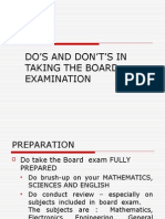DO'S AND DON'T'S IN TAKING THE BOARD EXAMINATION