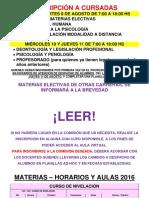 Materias Electivas Segundo Cuatrimestre y Seminarios 2016