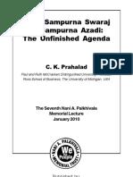 From Sampurna Swaraj to Sampurna Azadi-The Unfinished Agenda by Prof. C.K. Prahalad