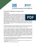 Tratamiento Clínico de Infección Humana Por El Virus a (H5N1) de La Influenza Aviar