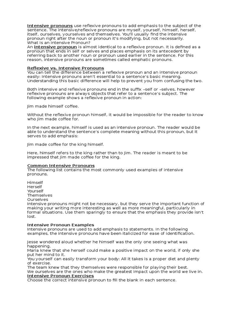 worksheet Reflexive And Intensive Pronouns Worksheet eng 1 pronoun linguistic typology