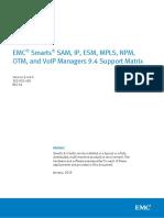 Docu57483 Smarts SAM, IP, ESM, MPLS, NPM, OTM, And VoIP Managers 9.4 Support Matrix