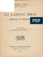 Dhirendra Varma La Langue Braj Dialecte de Mathura 1935