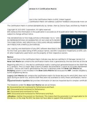 Docu57463 Smarts IP Manager 9 4 Certification Matrix | Cisco