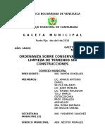 Ord Sobre Conservacion y Limpieza de Terrenos Sin Construcciones