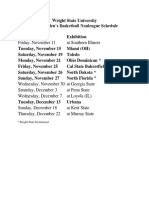 Wright State University Nonleague Schedule
