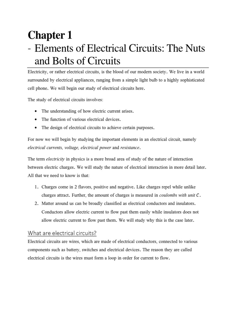 Chapter 1 Elements Of Electrical Circuitspdf Electric Current Power In Circuit Voltage