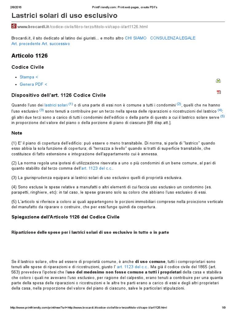 Codice Civile Art 1126 Lastrico Solare Condomini Sentenza