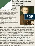 Immanuel Kant & Filsafat Pengetahuan - Makalah Fitzerald Kennedy Utk Sesi Ke-4 Kelas PU 2016