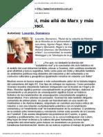 Con Gramsci, más allá de Marx y más allá de Gramsci