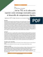 Aplicacion de las TiC en la Educacion. Como esstrategia innovadora para el desarrrollo de competencias digiatles.